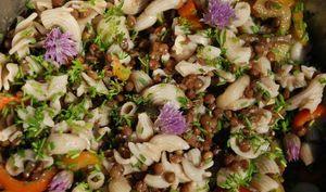 Salade de lentilles aux pâtes, fleurs de ciboulette, poivrons et persil sans gluten ni produits laitiers