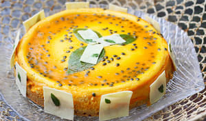 Fruit de la Passion gâteau au fromage au chocolat blanc et au basilic