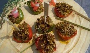 Pintxos Minis poivrons farçis aux merguez et graines de sésames grillées