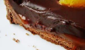 Tarte chocolat, ganache chocolat, caramel coulant au citron meyer...