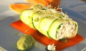 Courgette en rouleau de crabe, gelée de carottes aux agrumes