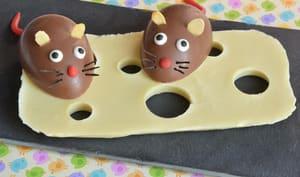La souris gourmande et son gruyère de chocolat blanc