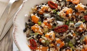Salade de boulgour et lentilles à la patate douce