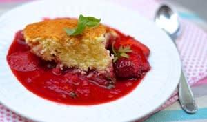 Pudding d'été fraise basilic et citron