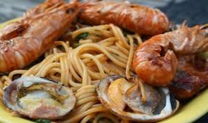 Spaghetti aux amandes de mer et langoustines