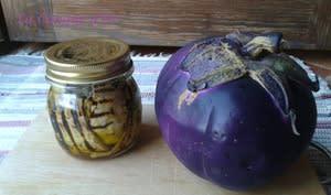 Bocal d'aubergines à l'huile d'olive