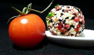 Tomates cerise panées au chèvre et aux graines.