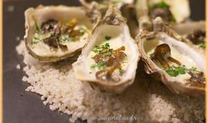 Huîtres et chanterelles gratinées