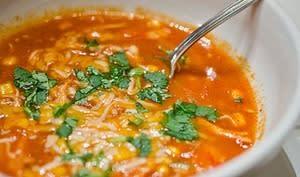 Soupe tortilla au bouillon de poulet