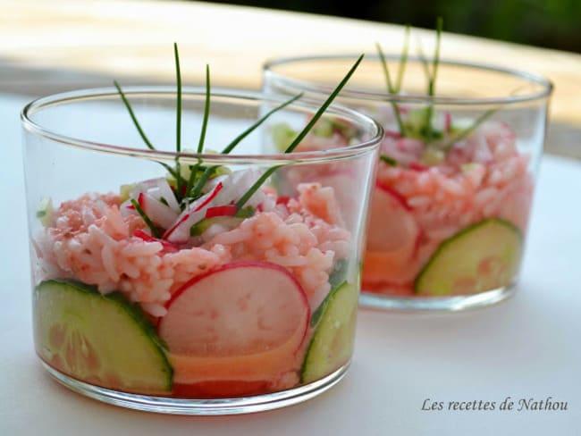 Verrines de riz à la vinaigrette de radis