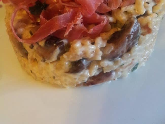 Risotto aux champignons et jambon serrano