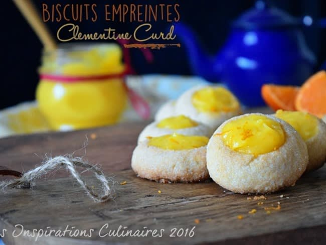 Biscuits Empreintes au romarin au curd de clémentine