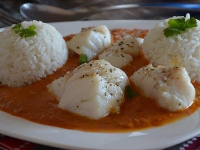 Dos de cabillaud au curry et lait de coco