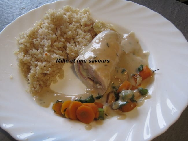 Ballotine de volaille avec jambon fumé et mozzarella
