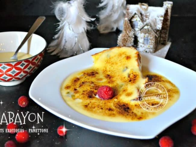 Sabayon aux fruits exotiques et panettone du Chef Simon