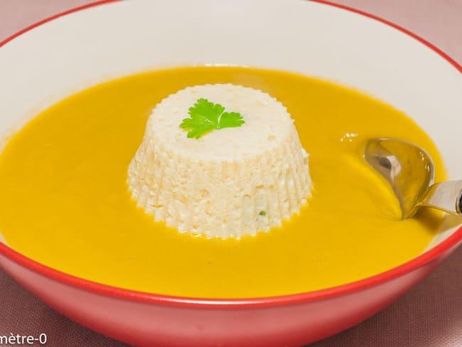 Mousseline de merlu, soupe aux légumes d'hiver