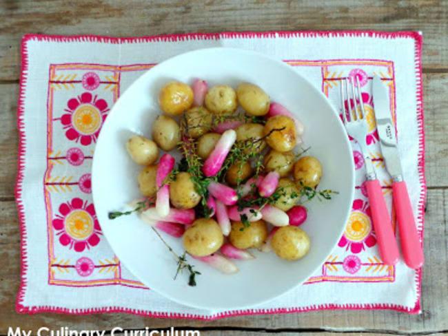 Poêlée de pommes de terre grenailles et de radis au thym frais