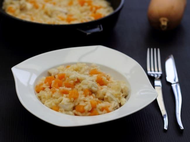 Risotto à la courge butternut, dinde et parmesan