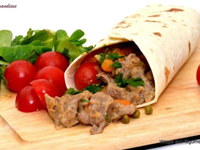Wraps à l'agneau et aux légumes.