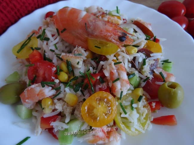 Salade de riz au crabe et crevettes