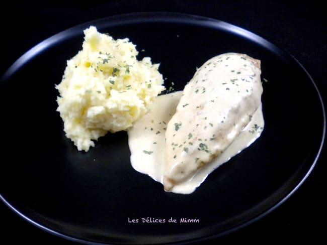 Filet de poulet à la moutarde et purée de panais
