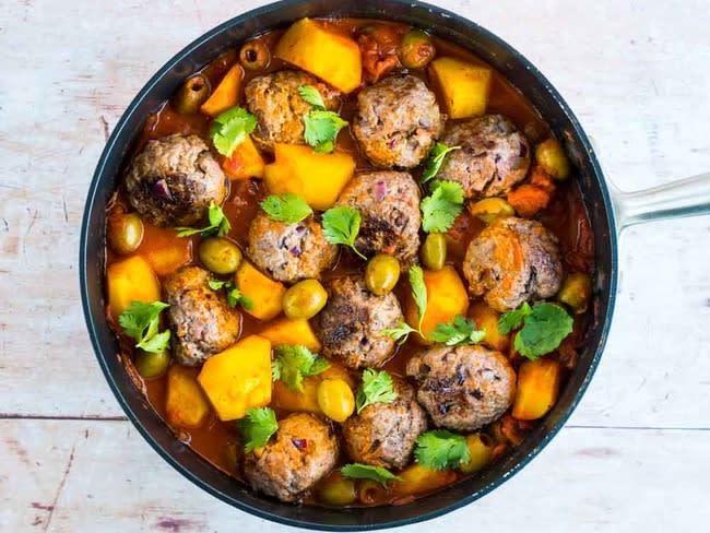 Tajine de keftas aux olives et pommes de terre