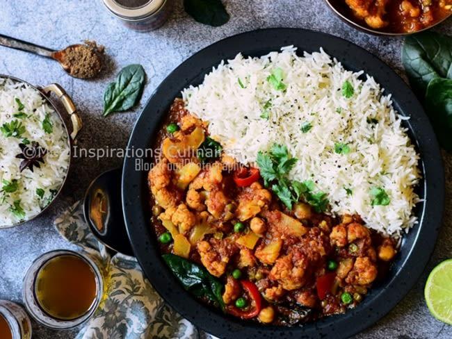 Chou fleur au curry et lait de coco