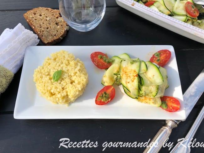 Cabillaud aux tagliattelles de courgettes tomates et pesto