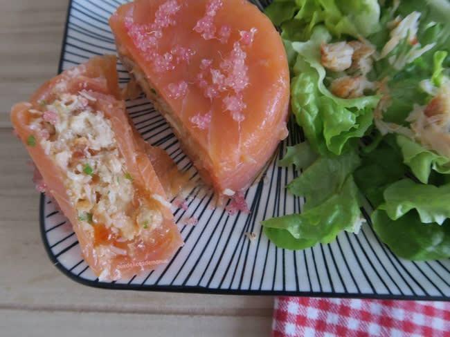 Aspics de truite fumée au crabe et œufs de saumon