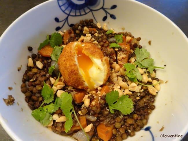 Salade de lentilles à la cannelle et œuf mollet