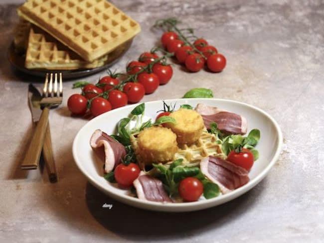 Salade de magret au chèvre et gaufres au pesto