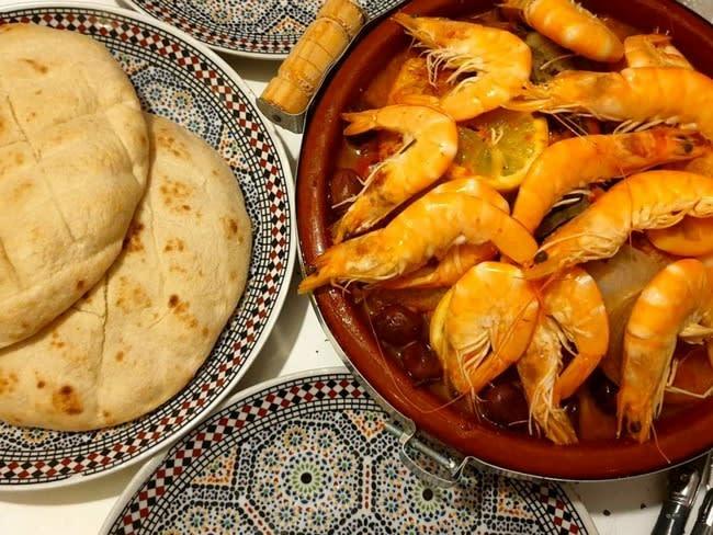Tajine marocain de poisson et crevettes