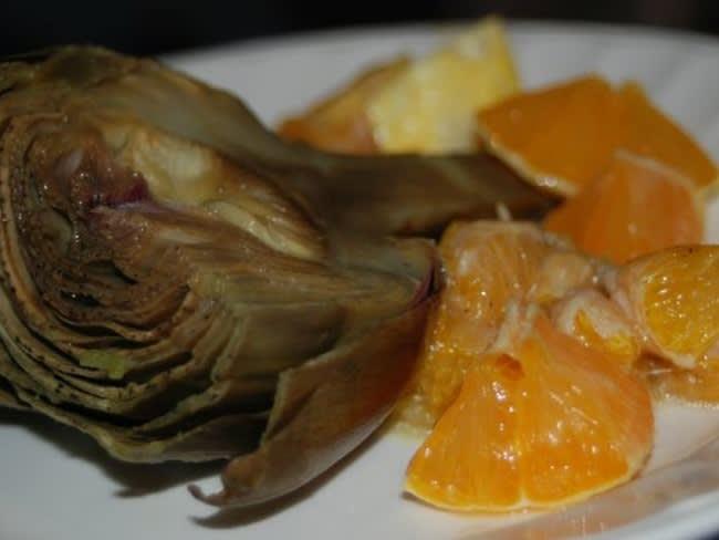 Artichauts au citron et orange confite