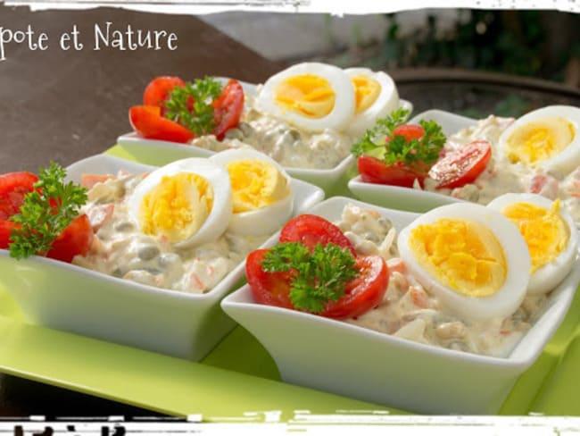 Macédoine de légumes au surimi et à l'oeuf dur