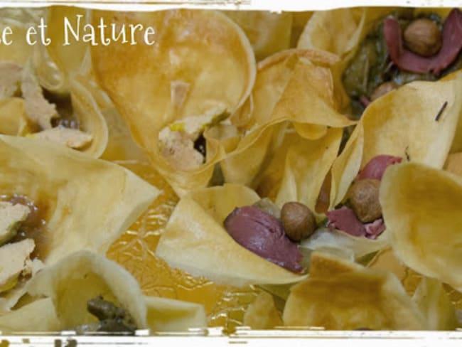 Petits paniers en feuille de brick, foie gras et magret, confit de figues