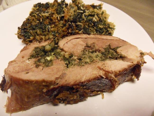 Gigot d'agneau farci aux herbes et son riz aux épinards