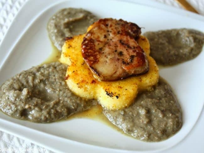 Foie gras poêlé sur polenta et purée de lentilles