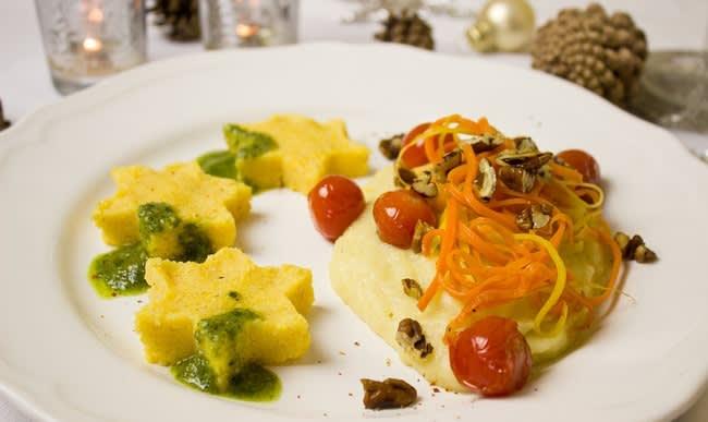 Polenta , mais et légumes