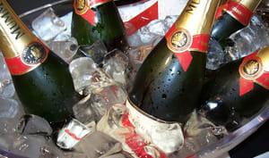 Champagne dans une vasque