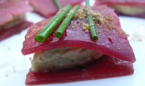 Pétale de betterave au caviar d'aubergine
