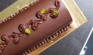 Bûche au chocolat et pistache