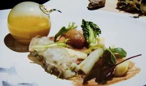 Faisan, pétoncles hachés, lard de Colonnata et petits légumes