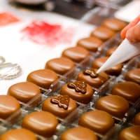 Bonbons au chocolat décorés à la poche à douille