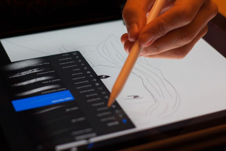 Ipad zum zeichnen der Illustrationen