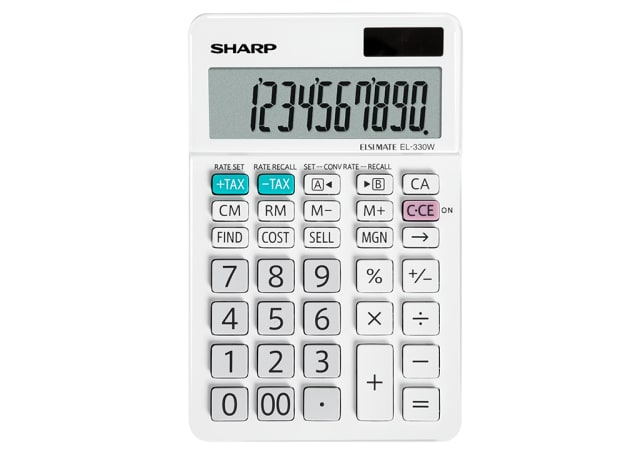 10 Digit Angled Business Calculator - White