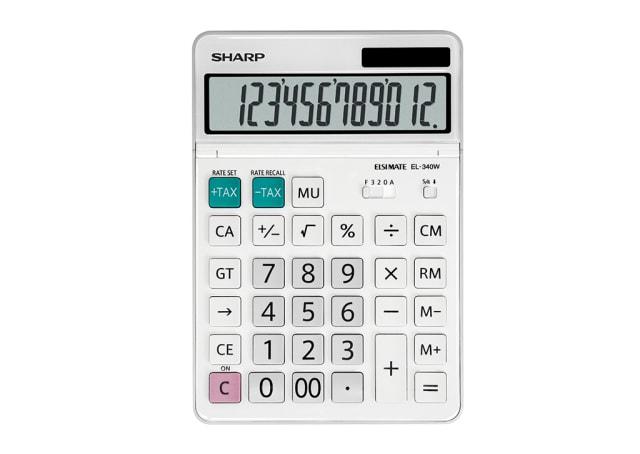 12 Digit Tilt Adjustable Business Calculator - White