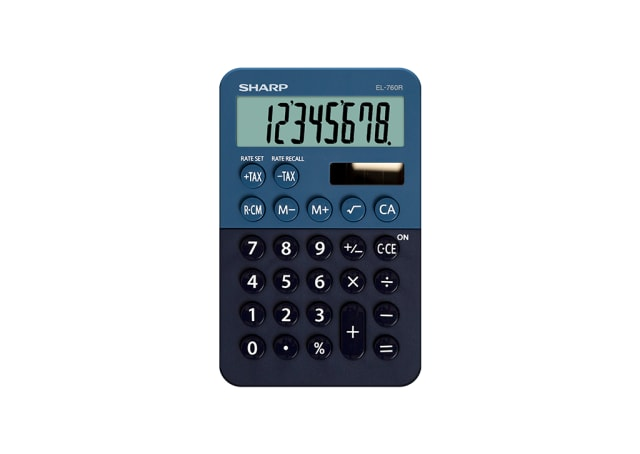 8 Digit Pocket Calculator with Twin Power - Blue