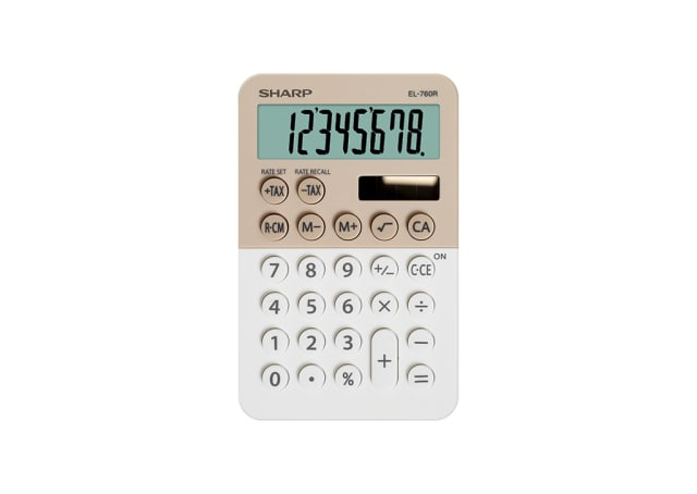 8 Digit Pocket Calculator with Twin Power - Latte