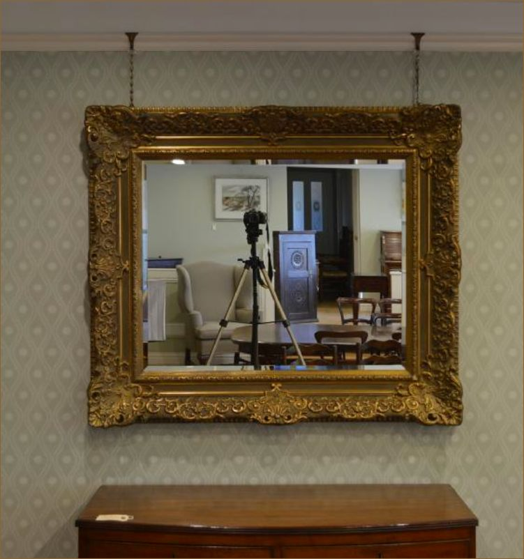 b661ec9e30a0 A large decorative gilt frame wall mirror - Belle Vue Antiques