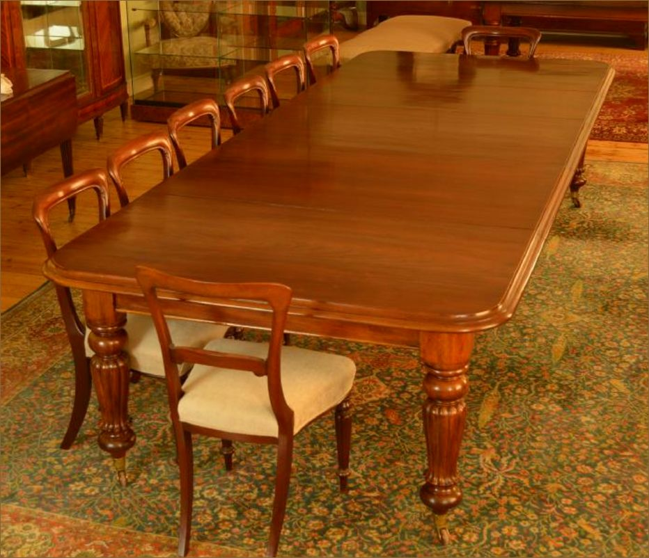 Large 19th Century Mahogany Pull Out Dining Table, Seats